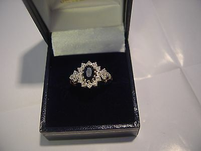 Vintage 9Ct Yellow Gold Ornate Sapphire & Diamonds Ring-Size P 1/2-Lovley
