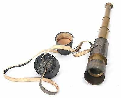 Decorative Antique Vintage Spyglass Telescope Leather Lens Cap Collectible Fi...