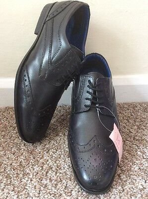 New Route 27 Black Leather Upper Lace Up Derby Brogue Shoes Size Uk 6 Eu 38.5