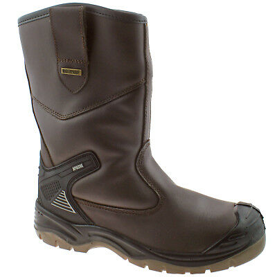 Mens Apache Ap305 Brown Leather Waterproof Safety Steel Toe Cap Rigger Boot