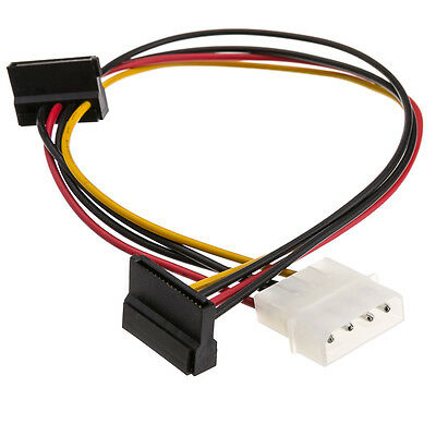 4 Pin Molex Male to Dual SATA Power Adapter Cable