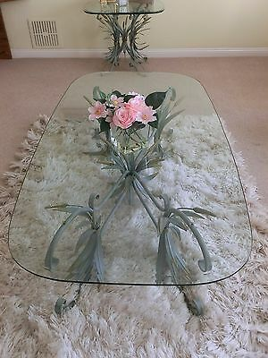 Decorative Glass Topped Coffee Tables - Set of 2