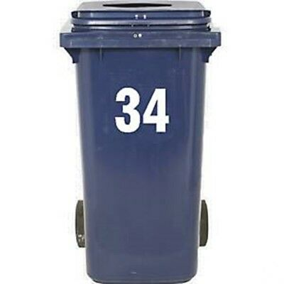 2pc Wheelie Bin Number Stickers Door House Numbers Self Adhesive White