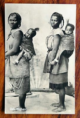 Africa Photo Postcard Rp Zulu Mothers Children Carried On Back Unused