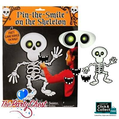 PIN THE SMILE ON THE SKELETON Kids Fun Halloween Classic Party Game 394842