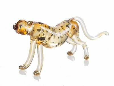Cheetah Tiger Hand Blown Blowing Glass Art Animal Fancy Collectibles