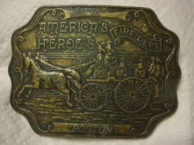 Vintage--America's Heroes--Boston Fire Dept--Belt Buckle--All Brass--Estate Find