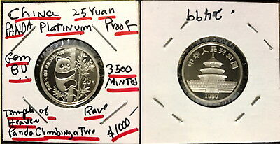 1990 25 Yuan  China PROOF 1/4 oz Platinum .9995--Panda in Tree--RARE 3500 MINTED