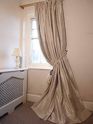 BESPOKE Cream 100% SILK BLACKOUT Thermal Huge Up to 3m LONG 2m Wide CURTAINS