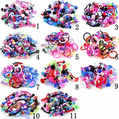 10X Mix Flexible Nose Navel Tongue Ear Piercing Bar Barbell Body Jewelry NEWLY