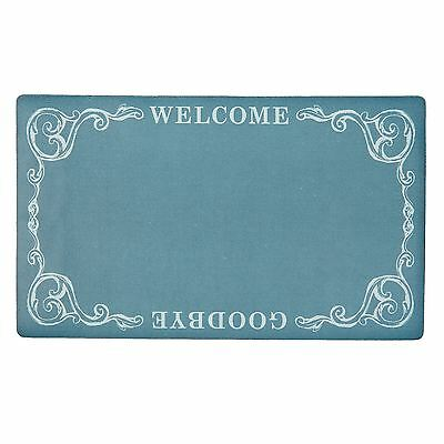 Welcome And Goodbye Decorative Teal Rubber Welcome Door Mat 44Cm X 73.5Cm