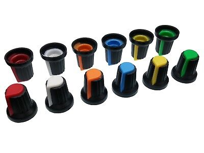 6 Colours Plastic Pot Knobs for 6mm Splined Potentiometer / Rotary Switch