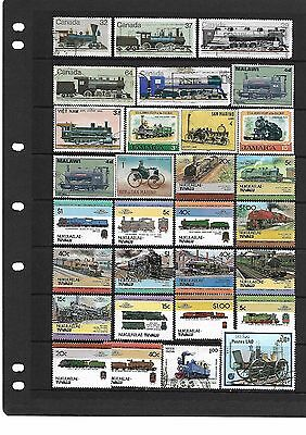 """THEMATICS SELECTION OF (30) """"trains"""" Stamps"""