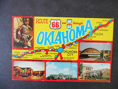1960s Route 66 Postcard Oklahoma Map Greeting