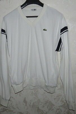 Rare Maglione Pullover Jersey Tennis Lacoste Casual France Size L Vintage Bianco