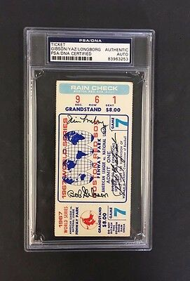 1967 WOS Baseball Game 7 Ticket Red Fenway Park Signed Gibson Longborg  PSA/DNA