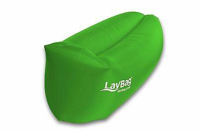 Inflatable Laybag Air Sleeping Bag Camping Sofa Couch Green