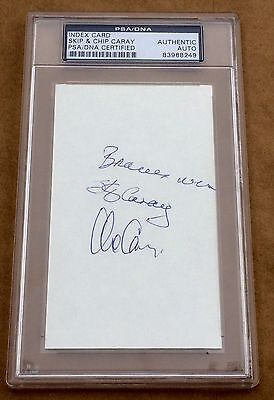 """Skip & Chip Caray """"Braves Win"""" dual signed PSA DNA autograph 3x5"""
