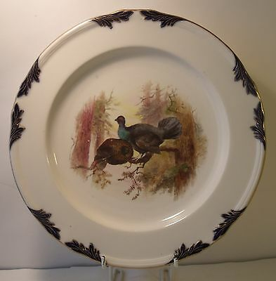 """9"""" Royal Worcester Hand Painted Gamebirds Cabinet Plate (c1899) Stinton?"""