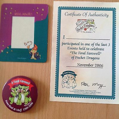 Pocket Dragon/dragons  MAGNETIC PHOTO FRAME, BADGE AND LAST 3 EVENTS CERTIFICATE