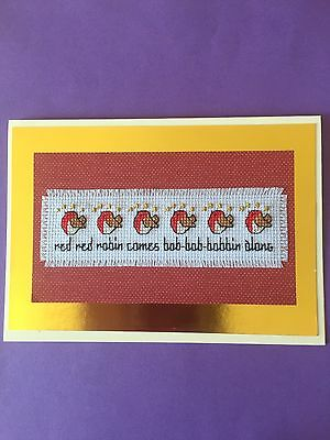 Completed Cross Stitch Christmas Card           ( Red, Red Robin ) 7 x 5""