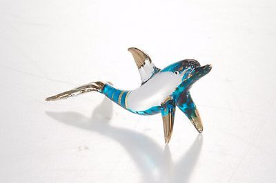 Mini Dolphin Blue Hand Blown Blowing Glass Art Animal Fancy Collectibles