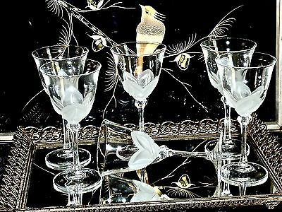 Outstanding J.g. Durand Florence Satine Crystal  Wine Glasses France Set Of 6