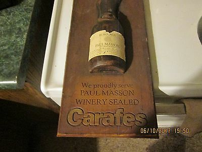 Vintage Wooden PAUL MASSON VINEYARDS CARAFES wooden bottle sign rare
