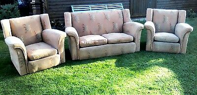 Vintage Small Sofa & Two Matching Armchairs Three Piece Suite Circa 1930 /40