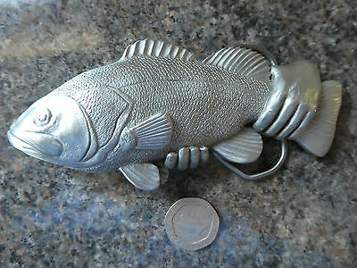 Vintage 1996 Gap solid pewter belt buckle 4435  Fish with holding hand..