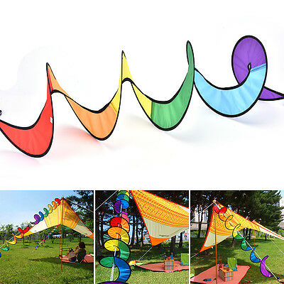 Foldable Rainbow Spiral Windmill Wind Spinner Camping Tent Home Garden Decor *P