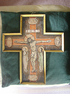 """Arts And Crafts Movement  Metal Wall Hanging """"the Crucifixion"""""""