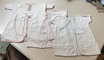 Set of 3 Vintage Baby Gowns Newborn Infant Layette Kimono Flannel Nightie Ribbon
