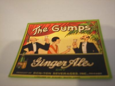 Vintage, The Gumps Ginger Ale Label, Bon-Ton Beverages, Inc., Chicago, 7 Oz.