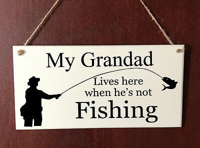 Grandad DELUXE Plaque Fishing Wooden Sign Dad Brother Uncle Son Gift Present