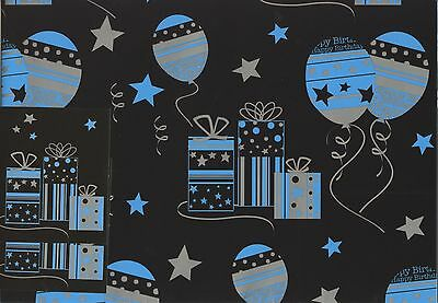 Silver, Blue + Black Modern 2 Sheets Of Gift Wrap Wrapping Paper +2 Tags 1Stp&p
