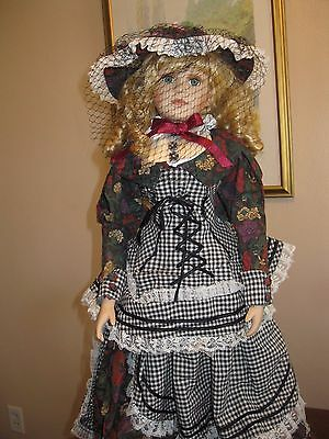 "26"" Victorian Porcelain Doll Plaid-Floral Trim Dress with Stand"