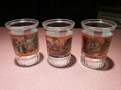 Vintage Lot of 3 Welch's Jimmy Neutron Jelly Jar Glasses