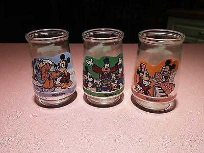 Vintage Lot of 3 Welch's Mickey Mouse Jelly Jar Glasses