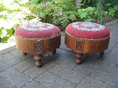 Antique Pair of Victorian Beadwork Tapestry Footstools - Restoration project