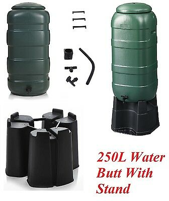 250L Garden Water Butt Set including Tap With Stand,T-piece, Flexible Hose Green