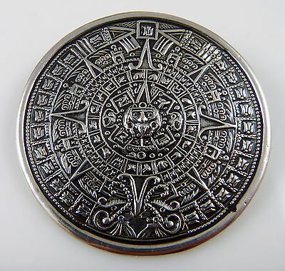 Sterling Silver Aztec Mayan Sun Dial Calendar Pendant Pin Brooch- Mexico