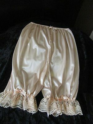 Vtg Caramel Nylon Sissy Lacy Panties Directoire Knickers With Rose & Faux Pea