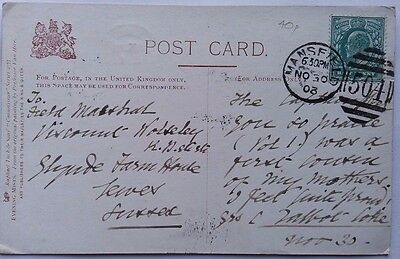 Great Britain 1903 Post Card From Mansfield To Field Marshal Viscount Wolseley