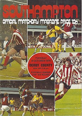 SOUTHAMPTON v DERBY COUNTY ~ LEAGUE CUP 3RD ROUND ~ 8 OCTOBER 1974