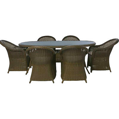 Milazzo 6 Seater Rattan Effect Garden Glass Top Table