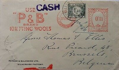 Great Britain 1936 Alloa Wool Meter Mark Cover With Belgium Postage Due Stamp