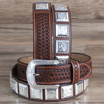 "34"" 3D 1 1/2"" Brown Mens Leather Basketweave Western Fashion Belt Silver Concho"