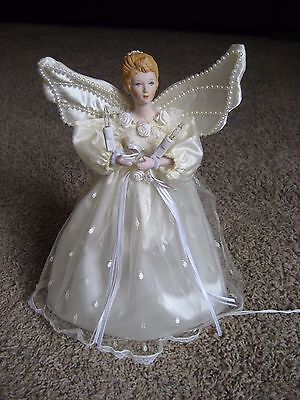 Silvestri Angel Christmas Tree Topper or Table Top w / Lights, Porcelain Head