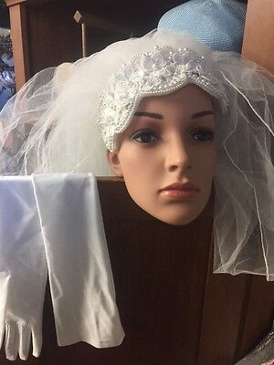 Bride Pearl And Veil Headwear And High Satin Gloves